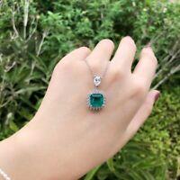 Damen Halskette echt Silber 925 Smaragd Edelstein Kette mt Anhänger Geschenk Neu