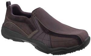 Skechers Larson Berto Slip On Shoes Mens Casual Leather Memory Foam Loafers