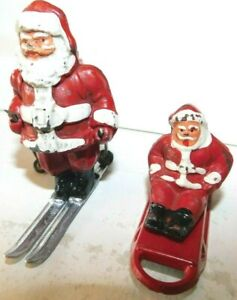 Old BARCLAY USA 1930s Dimestore Lead Winter Figures, Santa on Skis Santa On Sled