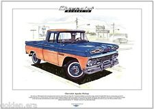 CHEVROLET APACHE 10 PICKUP - Fine Art Print - A3 size - Classic Chevy truck 1961