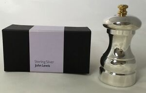 Superb John Lewis Solid Sterling Silver 10cm Salt Or Pepper Grinder - Boxed