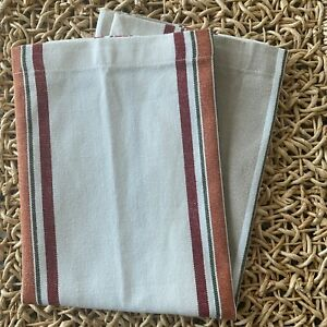 "Set of 8 Williams Sonoma Cloth 100% Cotton Beige Red Striped Napkins 20""x20"" NEW"