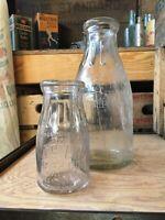 Vintage Half Pint & Quart Milk Bottle Western Dairy Chicago Illinois Edgemont