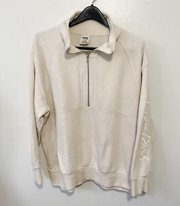 Victoria Secret Pink Sweater 1/2 Zip Up Collared Pullover Fleece Ivory Sz Large