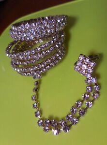 Silver Clear White Crystal Rhinestone Wedding Slave Hand Ring Bracelet