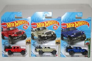 HOT WHEELS '20 JEEP GLADIATOR RED, TAN, AND BLUE VARIATIONS LOT OF 3