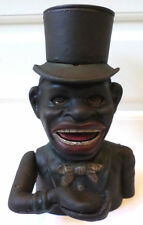 Cast Iron Jolly Boy Mechanical Coin Bank J.E Stevens Black Americana Top Hat