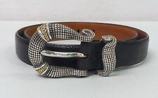 "Stephen Dweck Sterling Silver 18K Yellow Gold Buckle Black Leather Belt 30"""