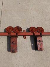"""Antique Barn Door Rollers plus 89"""" of Track Rail Safety Door Hanger Porter Myers"""