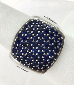 David Yurman Sterling Silver Pave Blue Sapphire Signet Ring Size 9.5