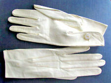 Vintage Fownes Gloves Ladies Leather Logo Buttons, Pristine Antique White Unworn