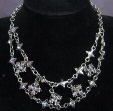 Wonderful statement style bib silver tone metal necklace floral design