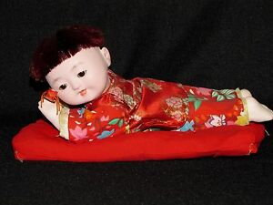 Vintage Bisque Doll Adorable Japanese Toddler Boy with Toy on Mat