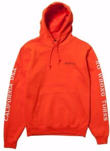 Matix NO WRONG TURNS Mens Pullover Hoodie Sweatshirt Small Orange NEW