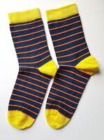 Womens Socks Navy Yellow Orange Striped Size UK 4-7(EU 36-40) Cotton Rich 1 Pair