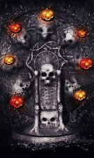 "Halloween Lighted Canvas Picture Skulls Pumpkins Led Lights Decor 21"" x 13"""