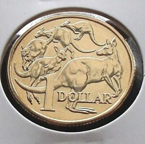 2014 Unc Australia One $1 Dollar Coin - Mob of Roos - Ex RAM Roll - Low Mintage