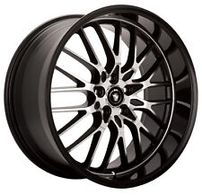 17X7 KONIG LACE WHEELS 5X100/114.3MM ET40 RIM BLACK FITS 5 LUG CELICA CIVIC