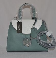 GUESS Amaia Satchel Bag Purse Handbag Sac Coral Blue Creme Multi New Charm