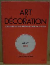 ART ET DÉCORATION / août 1933 / 4° salon de l'U.A.M./ SURVAGE / expo de Milan