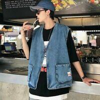 Men Casual Denim Waistcoat Vest Jacket Jean Sleeveless Coat Outwear Pocket Top