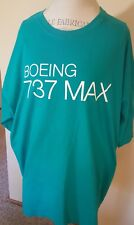 Boeing 737 Max Airplane Jet Teal Blue T Shirt Size 3XL
