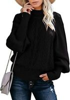 Womens Turtleneck Oversized Sweaters Lantern Sleeve Chunky Cable Knit - BLACK L