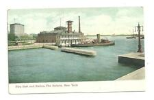 Unused Pre 1915 Fire Boat and Station Battery New York Postcard
