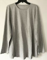 NEW PURE J. JILL M Stretch-Cotton Spandex L/S Shirttail Tee Tunic Shirt Gray