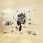 Butterfly Flowers Girl Home Vinyl Decal Art Mural Wall Stickers Room Deco Gift
