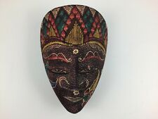 Bali Wood Hand Carved Face Mask Bright Colors Flowers Indonesia 6 1/2""