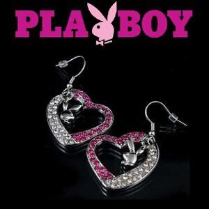 Playboy Earrings Bunny Charm Crystal Heart Dangle xo love NWT y2k Deadstock RARE