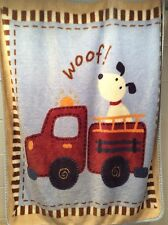 "Carters Puppy Blanket Woof Fire Truck Dog Plush Boy Girl 35"" X 41"" FREE SHIP"