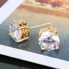 18ct yellow Gold filled Solitaire White Topaz simulated diamond stud earrings