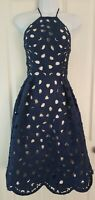 Womens Chi Chi London Dress size 8 blue white party prom occasion lace flared