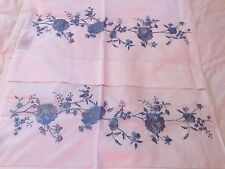 SFERRA ROSINA PERCALE 2 STANDARD PILLOWCASES BLUE FLOWER ROSES EMBROIDERED ITALY