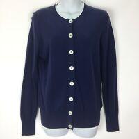 Brooks Brothers 346 Medium Blue Cardigan Sweater Womens Supima Cotton Button Up