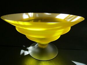 BRIGHT  FROSTED YELLOW  GLASS COMPOTE/SWEET DISH