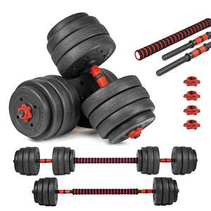 40kg Lang- Kurzhantel Hantel Set Gewichte Hantelscheiben Krafttraining 2 in1