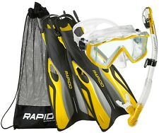 Rapido Boutique Collection Scuba Snorkeling Mask Fin Snorkel Set with Carry Bag