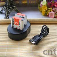 2X Battery+ USB Dual Charger for Sony NP-BG1 W80 W70 W55 W50W100 H9 DSC-T100 T20