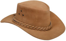 Aussie Tan Western Style Cowboy Outback Real Suede Leather Aussie Bush Hat