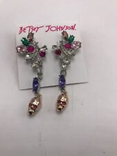 $52  Betsey Johnson Back to drop stone & skull earrings m7