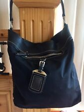 Prada Black Nylon & Leather Medium Shoulder Bag With Logo