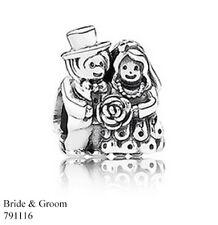 PANDORA Charm Sterling Silver ALE S925 MR & MRS BRIDE & GROOM 791116