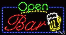 "New ""Open Bar"" Logo 32x17 Solid/Animated Border Led Sign W/Custom Options 25417"