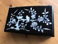 Vintage Oriental Black Lacquer Mother Of Pearl Inlaid JEWELLERY Box Birds