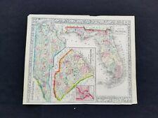 1860 Mitchell Atlas Genuine Antique Rare Map - Florida North and South Carolina