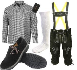 Trachtenset Herren Trachten Set Trachtenlederhose 6tlg Hose Hemd Schuhe SHLSH03