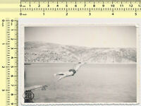 112 Guy Diving Jumping Man Dive Beach Motion Fly Abstract Surreal vintage photo